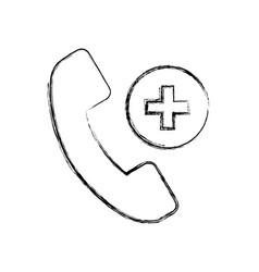 Sketch draw emergency call cartoon vector