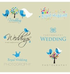 Vintage hipster logo collection for wedding vector image vector image