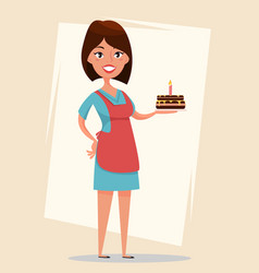 Woman holding tasty cake with burning candle for vector