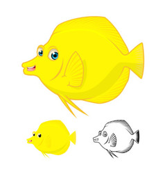 Yellow tang fish vector