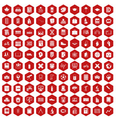 100 school icons hexagon red vector image