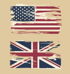 Grunge flags of usa and uk vector