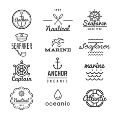 Nautical logos in hipster style vector