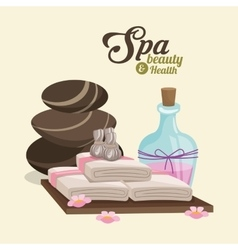 Spa beauty and health hot stone compress lotion vector