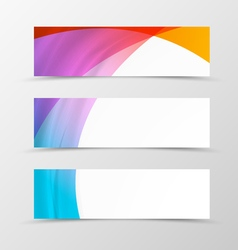 Set of header banner dynamic wave design vector image