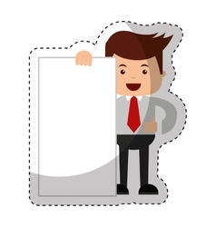 businessman funny with document character icon vector image