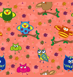 Seamless pattern with ornamental owls over vector