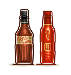 Bbq and chilli sauce bottles vector