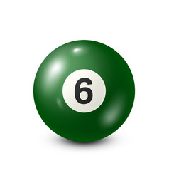 Billiardgreen pool ball with number 6snooker vector