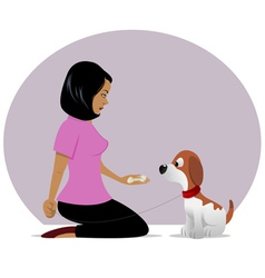 Dog owner treat tempting 01 vector