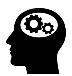 Silhouette of man head with gears vector