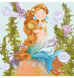 Mermaid combing long hair on undersea background vector image