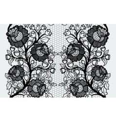 Wide seamless black lace ribbon with roses vector
