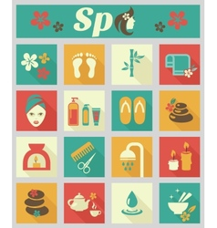 Colored flat spa icons vector