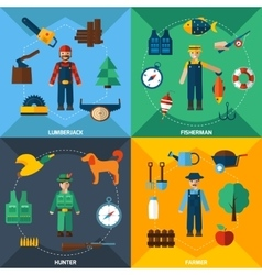 Nature management professions icon set vector