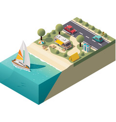 isometric beach camping vector image