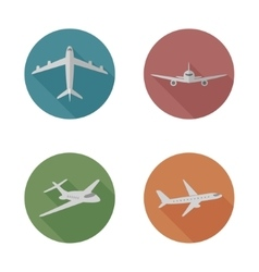 Airplanes flat icons vector