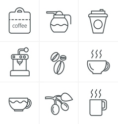 Line icons style coffee icons with white backgroun vector