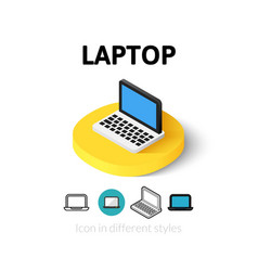 Laptop icon in different style vector
