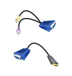 DVI Digital Video Interface or VGA to RCA Cables vector image