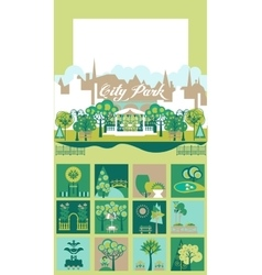 Park and landscape design constructor set vector