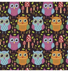 Childish seamless pattern with cute owls vector