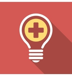 Medical bulb flat square icon with long shadow vector