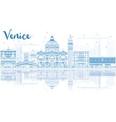 Outline venice skyline silhouette vector