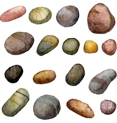 Sea stones drawing in watercolor vector