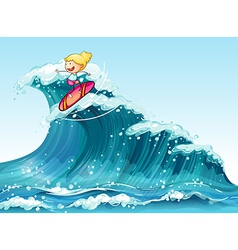 A brave female surfer vector image