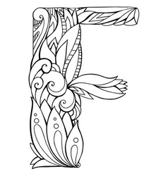 black and white freehand drawing capital letter f vector image vector image
