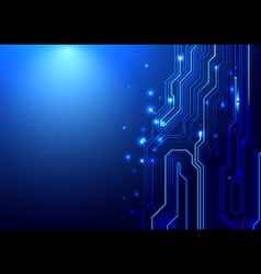 Blue abstract circuit board and lines background vector image