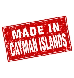 Cayman Islands red square grunge made in stamp vector image vector image