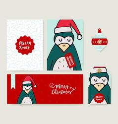 christmas holiday greeting card animal cartoon set vector image