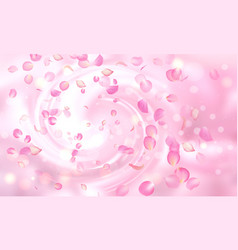 delicate background with falling pink rose vector image