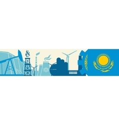 Energy and power icons set kazakhstan flag vector