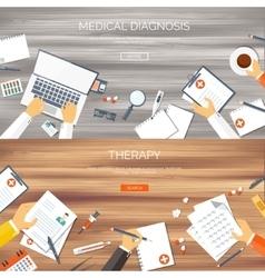 Flat medical backgrounds set vector