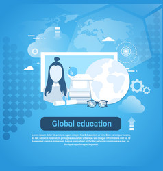 global education web banner with copy space on vector image