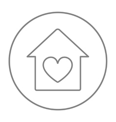 House with heart symbol line icon vector image vector image
