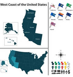 Map of west coast of the united states vector