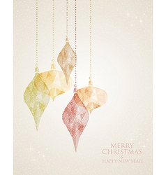 Merry Christmas triangle hanging baubles vector image vector image
