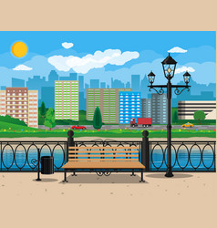 Modern city view waterfront river embankment vector