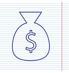 Money bag sign navy line vector