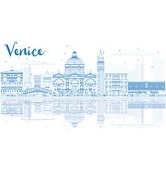 Outline Venice Skyline Silhouette vector image vector image