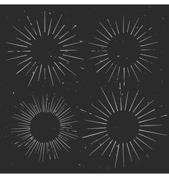Set of vintage circle hand drawn ray frames vector image