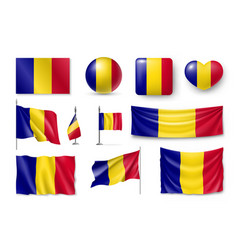 set romania flags banners banners symbols flat vector image vector image