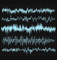 sound wave set audio technology musical pulse vector image