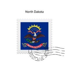 State of north dakota flag postage stamp vector