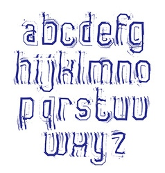 stylish brush lowercase letters with outline vector image