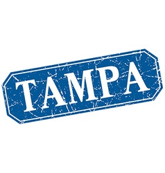 Tampa blue square grunge retro style sign vector
